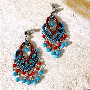 Turquoise and Red Coral Chandelier Earrings